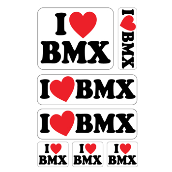 I Love BMX A4 stickervel