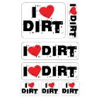 I Love Dirt A4 stickervel
