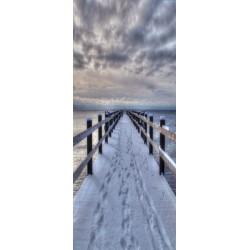 Deursticker Brug met sneeuw