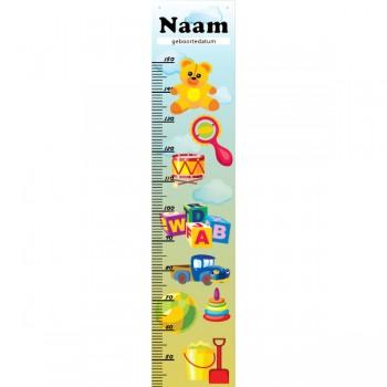 Groeimeter speelgoed 28 x 130 cm met eigen naam en geboortedatum